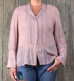 J Jill Dusty Pink Blouse L size Sheer Embroidered Womens Romantic Top