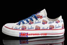 29461c544c7b White Converse UK Flag London Bus Printed Low Tops Canvas Transparent Soles Shoes  Converse Chuck Taylor