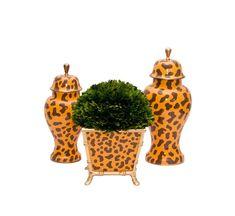 Golden Leopard Cachepot and Jars