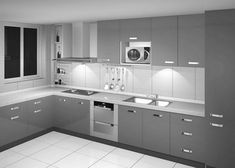 Kitchen Cabinets Two Colours, Aluminum Kitchen Cabinets, Minimalist Kitchen Cabinets, Modern Grey Kitchen, Aluminium Kitchen, Gray And White Kitchen, Modern Kitchen Design, Minimalistic Kitchen, White Cabinets
