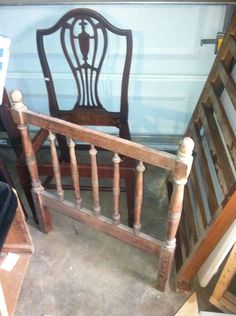 New use of crib railing for a bench seat  What Do You Get When You Cross a Vintage Crib End and  Chair?...