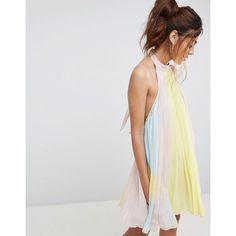 ASOS Pleated Colourblock Trapeze Mini Dress (4.005 RUB) ❤ liked on Polyvore featuring dresses, multi, short dresses, halter neck dress, halter dress, halter top and pleated dress
