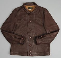 PHIGVEL: Sports Leather Jacket, Brown