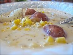Janelle from Comfy in the Kitchen has the perfect Summer Corn and Potato Chowder Soup recipe for us! Janelle writes: This is one of my husband's and my favorite soups…I changed it to suit the ingredients I had on hand. You won't want to pass this one up my friends….it is so good that my husband takes the left overs to work the next day (which is typically unheard of for him). A fantastic recipe right now when corn is IN season! Shuck fresh corn on the cob Rinse corn and get rid of all silk…