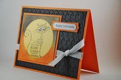 Too cute! Happy Halloween Cat Handmade Card Black and Orange   cardsbylibe - Cards on ArtFire