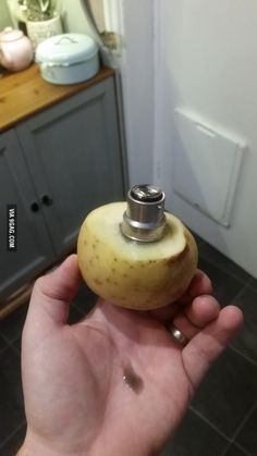 Life hack: Removing a broken light bulb with a potato.