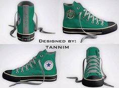 Custom Harry Potter House Slytherin Converse Chucks by Tannim Slytherin And Hufflepuff, Slytherin House, Harry Potter Style, Harry Potter Houses, Custom Converse, Converse Shoes, Converse Chuck Taylor, Me Too Shoes, High Top Sneakers