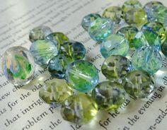 Blue Green Faceted Round Beads Variety Mix by VikisVarietyCraft