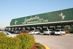 """Want a unique experience like no other? well Lambert's Cafe in Sikeston, MO is the place to be! They are world famous for their """"thrown rolls"""" and generous portions. Lamberts also offers pass around side dishes which are delicious! Get there early!  It is a busy place. for more information visit VisitMO.com"""