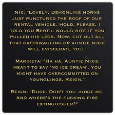 Regin, Mariketa and Nix (MacRieve by Kresley Cole - Immortals After Dark)