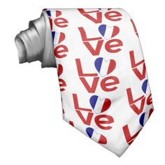 French Red LOVE Tie -- The word LOVE in red letters with a heart shaped flag of France for the O. Shows all over this neck tie. Design by @auntieshoe For more neckties go to http://www.zazzle.com/flagnation/mens+ties?rf=238656250999501047&tc=PinMensTiesZazzle