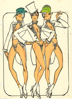 """A Pete Menefree costume design drawing of showgirls in vests and tail coats for the show Jubilee! at the MGM Grand Hotel and Casino in Las Vegas, June 5, 1980.  Part of UNLV Libraries """"Showgirls"""" digital collection."""