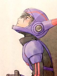 Super Hiro Hamada looking up the sky wishing that Baymax and Tadashi are still with him