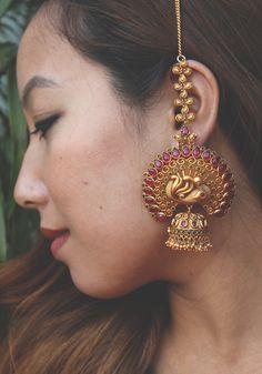 Ruby Red Temple Work Earrings - Glitterati by Alankriti - 2877544 Gold Jhumka Earrings, Indian Jewelry Earrings, Jewelry Design Earrings, Gold Earrings Designs, Gold Jewellery Design, Antique Earrings, Bridal Earrings, Bridal Jewelry, Gold Jewelry