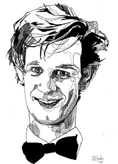 Doctor Who - Matt Smith 11th Doctor Drawing Original Artwork. £20.00, via Etsy. Need to practise this style, I think!