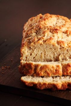 Beer Bread 3c flour, 1 tbs baking powder, 1 1/2 tsp salt, 1/4 c sugar, 12 oz beer, 1/4c melted butter. combine all ingredients put melted butter on top. 375 degrees 40-45 min Delicious.