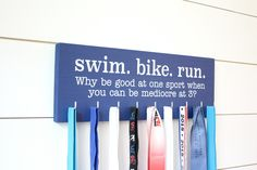 Triathlon Medal Holder / Display - Swim. Bike. Run. - Medium