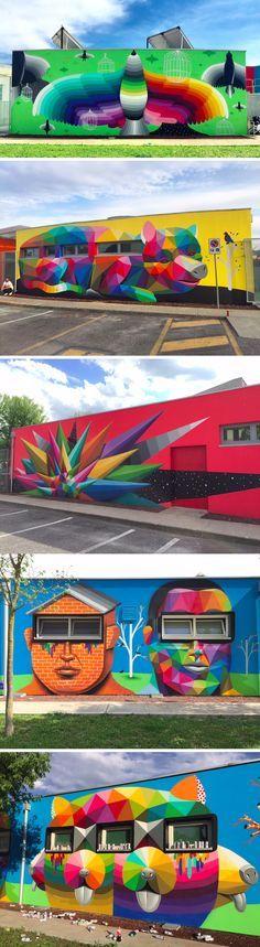 Okuda San Miguel Transforma las paredes de un jardín de infancia italiana En un cuento de hadas prismático