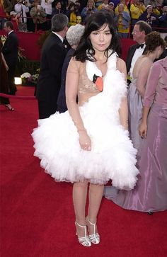 Who: Björk  What: 2001 Academy Awards Costume Essentials: Nude bodysuit, white tutu, white feather boa, and a stuffed swan doll.