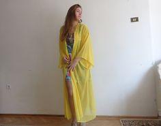 Kimono Style  Robe Chiffon Fabric Belt Closure by angelofanatolia, $39.00