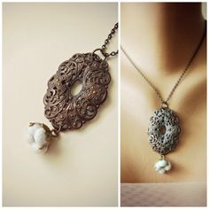 Cotton Boll Necklace with Vintage Filigree Pendant by jewelera, $48.00