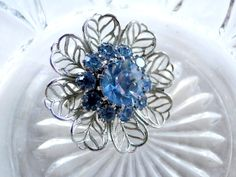 New to MyVtgJewelryShop on Etsy: Vintage Brooch Blue Rhinestone Pin All Glass Filigree Design Affordable Holiday Gift Idea (9.88 USD)