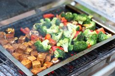 sweet and spicy grilled tofu and broccoli. totally vegan!