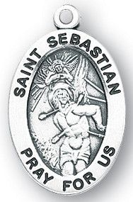Sterling Silver Oval Shaped St. Sebastian Medal by HMH | Catholic Shopping .com