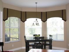 It can be difficult to decide which window treatment is just right for your bay window. When it comes to bay window curtains, there are many . Valance Window Treatments, Window Treatments Living Room, Custom Window Treatments, Window Coverings, Bay Window Curtains, Drapes Curtains, Valances, Burlap Curtains, Drapery