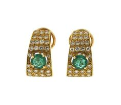 18k Gold Diamond Emerald Half Hoop Earrings Featured in our upcoming auction on October 20!