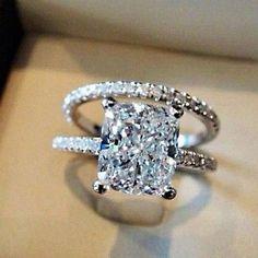 3.10 Ct. Cushion Cut Pave Natural Diamond Wedding Set - GIA Certified