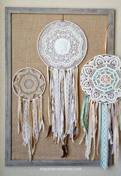 Vintage Doily Bohemian Dream Catcher using lace, twine, vintage doilies, and ribbon.