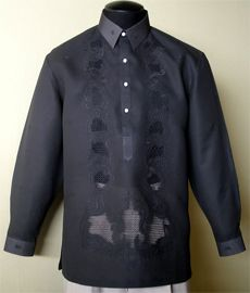 Barongsrus-Black Barong Tagalog You can not go wrong with the Black Tagalog Color: Black Traditional Straight Point collar, cuff buttons Traditional four-open button front Barong Tagalog Wedding, Barong Wedding, Philippines Fashion, Philippines Culture, Filipiniana Dress, Filipino Fashion, Smart Dress, Line Shopping, Traditional Dresses