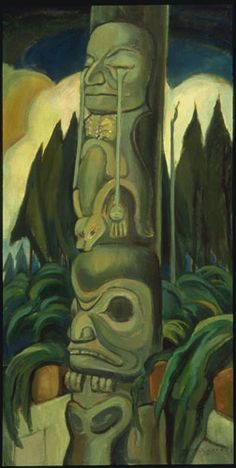 Vancouver Art Gallery - Emily Carr - The Crying Totem Tom Thomson, Canadian Painters, Canadian Artists, American Artists, Emily Carr Paintings, Native American Totem, Vancouver Art Gallery, Exhibition, Impressionist Paintings