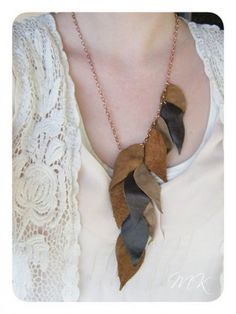 Leather leaf necklace. Very cool!