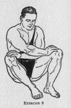 vintage oldtime strongman exercise bodyweight hip abductor illustration