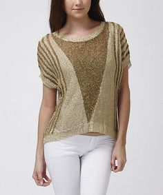Love this Gold Stripe Knit Hi-Low Top by Trendology on #zulily! #zulilyfinds