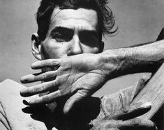 """EOU Photography: Dorothea Lange """"Migrant Cotton Picker"""" Black & White, 1940. This image portrays Lange's signature fascinations with hands and the face in proportion to each other."""