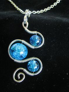 Cool wire pendant - Hand made crackle bead wire wrapped pendant with chain by GsShop, $12.50