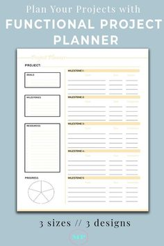 Productivity Project Planner Printable for goal getters. Get this printable to plan your projects. The easiest project management toolkit. Project Planning Template, Project Management Templates, Planner Template, Printable Planner, Bullet Journal Project Management, Schedule Templates, Free Printables, Work Planner, Business Planner