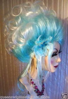 big teased blue and white drag queen wig