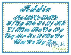 #2213 Addie Embroidery Font