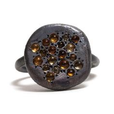 Caviar Ring, NATALIA MILOSZ-PIEKARSKA. Oxidised sterling silver set with citrines.