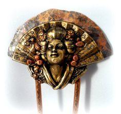 Made to Order Copper Hair Fork - Geisha, Hair Pin, Hair Jewelry, Asian, Hair ornament