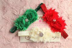 cyber monday sale..christmas baby headband set, baby girl headband, shabby headband sets..Baby girl Headband- baby flower headband