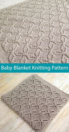 """Knitting Pattern for Mariele's Cable Lace Baby Blanket - Lovely stitch pattern with cable and lace wings or petals framing a diamond shape. 30 """" x or 76 cm x 89 cm… Baby Knitting Patterns, Free Baby Blanket Patterns, Crochet Blanket Patterns, Baby Blanket Crochet, Lace Knitting, Finger Knitting, Scarf Patterns, Crochet Baby, Knitted Baby Blankets"""