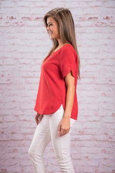 Bright Where I Want Top, Red || This cute bright top is exactly where we want to be! It looks great with a dark pair of jeans or even some white skinnies! We also love the exposed half zipper in the back. This simple top is so well made and so chic you are going to find so many things to wear this beauty to!
