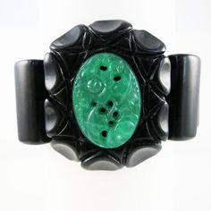 Bakelite Stretch Bracelet with Peking Glass by BakeliteArts, $150.00