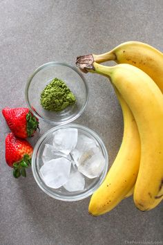 Ingredients for Matcha Green Tea smoothie with bananas and strawberries