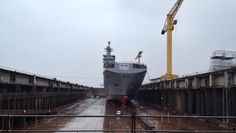 The Mistral Class BPC (bâtiment de projection et de commandement) which is similar to USN & Royal Navy amphibious dock landing ships/helicopter carriers, in the dry dock at Saint-Nazaire,France, before float out,for the Russian Navy. The Vladivostock is one of two on order from France.Due for delivery to Saint Patersburg on 1 November 2014,& to join Russian Pacific fleet.